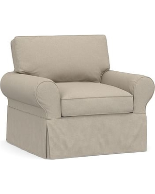 PB Basic Slipcovered Armchair, Polyester Wrapped Cushions, Brushed Crossweave Natural