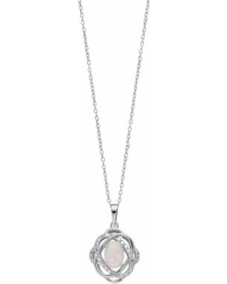 """Radiant GEM Sterling Silver Lab-Created Opal Oval Knot Pendant, Women's, Size: 18"""", White"""