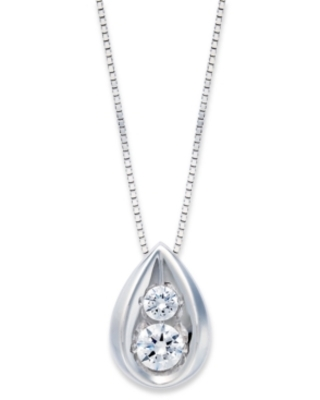Diamond Teardrop Pendant Necklace in 14k Yellow or White Gold (1/4 ct. t.w.)