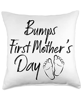 Happy Mothers Day Ideas and Apparel For Mom Happy 2021 First Mother's Day Cute Women's Mo Throw Pillow, 18x18, Multicolor
