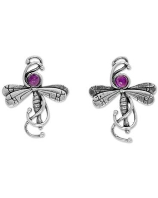 Mexican Hand Crafted Sterling Silver Earrings with Amethyst