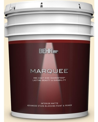 BEHR MARQUEE 5 gal. #330A-1 Bonnie Cream Matte Interior Paint and Primer in One