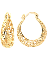 Silver Reflections 24Kt Gold Over Brass 22MM Filigree Hoop Earrings, One Size , Gold