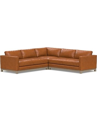 Jake Leather 3-Piece L-Shaped Corner Sectional with Wood Legs, Down Blend Wrapped Cushions, Vintage Caramel