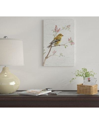 """East Urban Home 'Female Goldfinch Vintage' By Danhui Nai Graphic Art Print on Canvas EUME2657 Size: 12"""" H x 8"""" W x 0.75"""" D"""