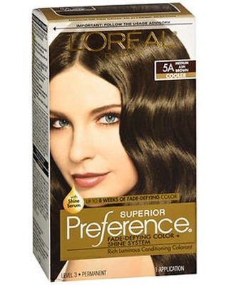 L'Oreal Paris Superior Preference Fade-Defying Shine Permanent Hair Color, 5A Medium Ash Brown, 1 kit