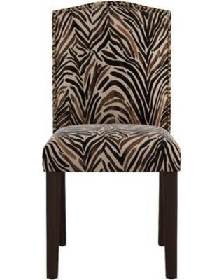 Bloomsbury Market Genevie Nail Button Arched Washed Zebra Upholstered Dining Chair BLMT1328