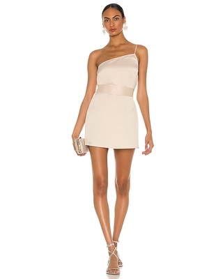 Marissa Webb Quinn One Shoulder Satin Crepe Shift Dress in Blush. - size XS (also in S)
