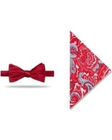 Madison Red Pre-Tied Solid /Paisley Bow-Tie With Pocket Square