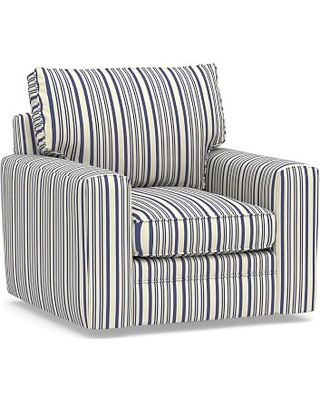 Pearce Square Arm Upholstered Swivel Armchair, Down Blend Wrapped Cushions, Antique Stripe Blue