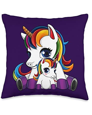 Unicorn - Mother's Day Baby Uncorn and Mother Throw Pillow, 16x16, Multicolor