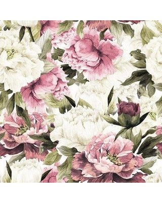"House of Hampton Crowell Removable Vintage Peonies 10' L x 120"" W Peel and Stick Wallpaper Roll BI182818"