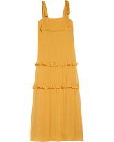 Girl's Dessy Collection Tie Shoulder Flower Girl Dress, Size 6 - Yellow
