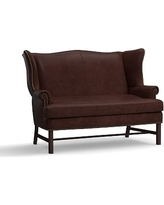 Thatcher Leather Settee, Polyester Wrapped Cushions, Statesville Espresso