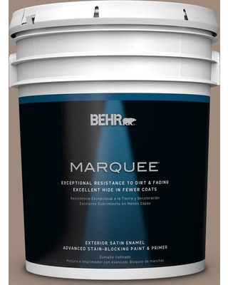 BEHR MARQUEE 5 gal. #BXC-49 Smokey Tan Satin Enamel Exterior Paint and Primer in One