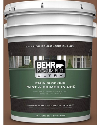 BEHR Premium Plus Ultra 5 gal. #T12-2 Stagecoach Semi-Gloss Enamel Exterior Paint and Primer in One
