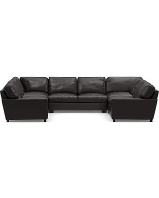 Turner Square Arm Leather 5-Piece U-Shaped Sectional, Down Blend Wrapped Cushions, Vintage Midnight