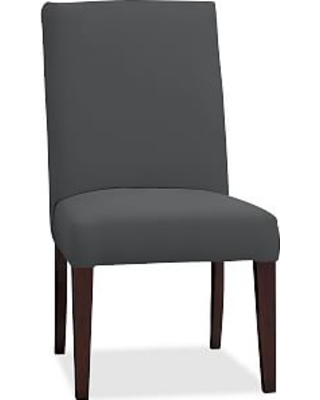 PB Comfort Square Upholstered Dining Side Chair, Premium Performance Basketweave Charcoal