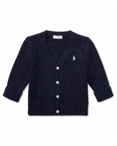 Ralph Lauren Baby Boys Combed Cotton V-Neck Cardigan - French Navy