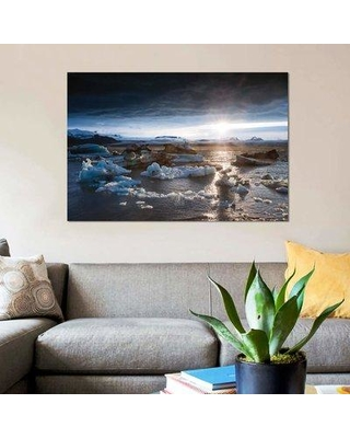 "East Urban Home 'Midnight Sun On The Glacial Lagoon Iceland' By Matteo Colombo Graphic Art Print on Wrapped Canvas ETRC6721 Size: 18"" H x 26"" W x 0.75"" D"