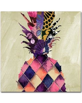 """Trademark Art 'Pineapple Brocade II' by Color Bakery Graphic Art on Wrapped Canvas ALI4127-C Size: 14"""" H x 14"""" W x 2"""" D"""