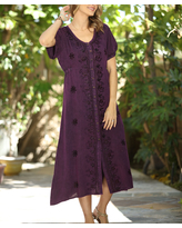 Ananda's Collection Women's Casual Dresses purple - Purple Floral Embroidered Bell-Sleeve Shift Dress - Women