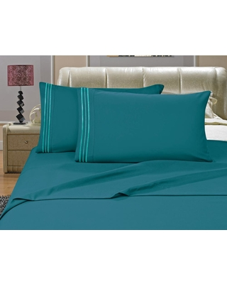 Elegant Comfort 1500 Series 4-Piece Turquoise Triple Marrow Embroidered Pillowcases Microfiber Twin XL Size Bed Sheet Set