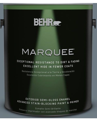 BEHR MARQUEE 1 gal. #N490-5 Charcoal Blue Semi-Gloss Enamel Exterior Paint and Primer in One