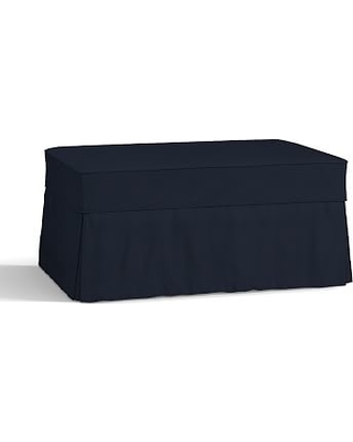 Charleston Slipcovered Ottoman, Polyester Wrapped Cushions, Twill Cadet Navy