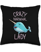 Best Narwhale & Canine Mammal Zoo Species Designs Funny Narwhal Gift For Women Grandma Whale Fish Ocean Animal Throw Pillow, 16x16, Multicolor