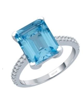 Sterling Silver with Sky Blue Topaz and White Topaz Solitaire Ring