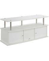 Designs2Go TV Stand with 3 Cabinets White - Breighton Home