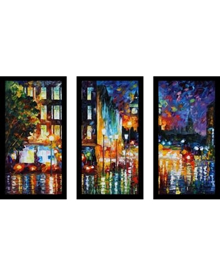 """Picture Perfect International """"Londons Lights"""" by Leonid Afremov 3 Piece Framed Painting Print Set 704-1914-1224 / 704-1914-1632 Size: 25.5"""" H x 40.5"""" W x 1"""" D"""