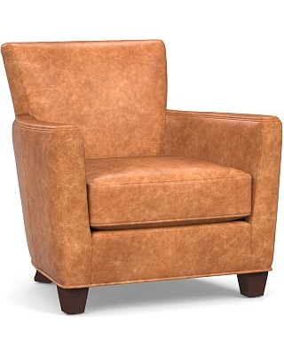 Irving Square Arm Leather Armchair, Polyester Wrapped Cushions, Statesville Caramel