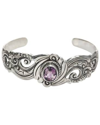 Unique Amethyst and Sterling Silver Cuff Bracelet