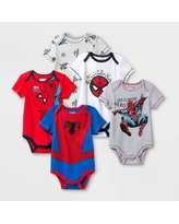 Baby Boys' 5pk Marvel Spider-Man Bodysuit Set - 3-6M, Blue/Gray/Red