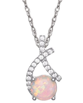 """Brilliance Fine Jewelry Sterling Silver Cubic Zirconia and Created Opal Pendant 18"""" Chain"""