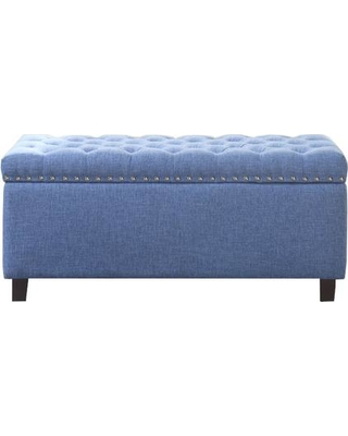 Enjoyable Nathaniel Home Nathaniel Home Button Tufted Blue Storage Ottoman From Home Depot Martha Stewart Creativecarmelina Interior Chair Design Creativecarmelinacom