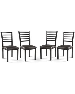 Furniture of America Maxson Black Padded Dining Chairs (Set of 4) Leather | IDF-3615SC-4PK-KD