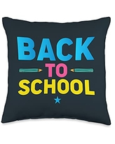 Back To School Apparel.USA Back Matching Teacher Student First Day of School Throw Pillow, 16x16, Multicolor