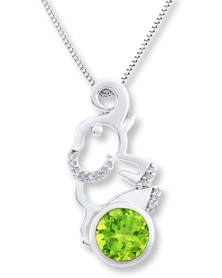 Jared The Galleria Of Jewelry Peridot Elephant Necklace 1/20 ct tw Diamonds Sterling Silver