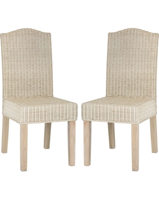 Odette White Wash 19 Inch Wicker Dining Chair Set of 2