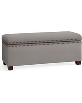 Tamsen Upholstered Storage Bench, Performance Twill Metal Gray