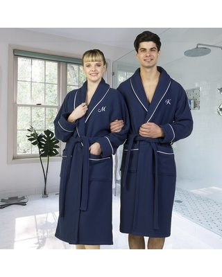 Authentic Hotel and Spa Navy Blue Unisex Turkish Cotton Waffle Weave Terry Bath Robe with White Script Monogram (R - S/M)