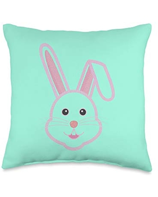 Sales On Easter Egg Bunny Vibes Face Funny Ear Easter Bunny Pascha Fun Holiday Throw Pillow 16x16 Multicolor