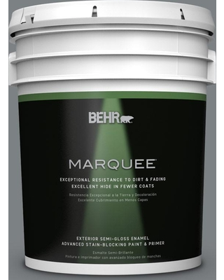 BEHR MARQUEE 5 gal. #PPU26-03 Legendary Gray Semi-Gloss Enamel Exterior Paint and Primer in One