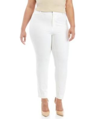 Crown & Ivy™ White Plus Size Cary Fly Front Bi-Stretch Pants