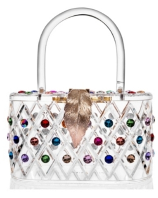 """Milanblocks """"The Queen"""" Rainbow Colorful Crystal Lucite Box Clutch Bag"""