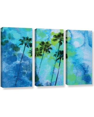 Remarkable Deals On Bay Isle Home Palm Trees On The Beach 3 Piece Painting Print On Wrapped Canvas Set Canvas Fabric In Brown Blue Green Size 36 H X 54 W X 2