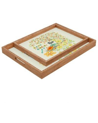 """East Urban Home Our Love Grows Endlessly Serving Tray, Wood in White, Size 1.25"""" H x 12"""" W x 12"""" D 